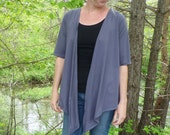 Organic Women's Clothing - Crossover Wrap Cardigan - Organic Cotton - Shown in Steel - Choose Your Color