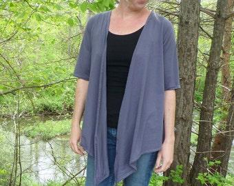 Organic Women's Clothing Crossover Wrap Cardigan Organic Cotton Bamboo Jersey Wrap Convertible Shirt Sweatshirt Yoga Wrap Dancer Active Wear