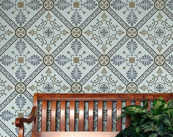 Large Wall Stencil Grecian Tile Allover Stencil for Easy DIY Wallpaper Decor