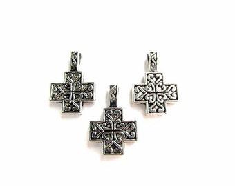 3 Ornate Cross Pendants/ Large Hole Bail