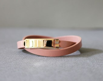 18k Gold Plated Closure Double Wrap Leather Bracelet(Indian Pink)