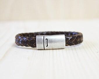 Vintage Brushed Rhodium Silver Plated Braided Leather Bracelet(Dark Brown)