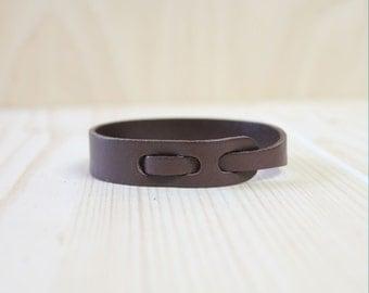 Cut Detail Leather Bracelet(Dark Brown)