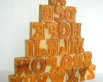"50% OFF - A to Z - 26 Beautiful Designer Letterpress Wood Type, 2"" High - B121 - DIY"