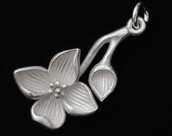1 of 925 Sterling Silver Flower Branch  Pendant 12x23mm. Matte Finish. :th1812