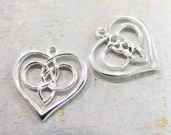 2 of 925 Sterling Silver Celtic Heart Charms 17mm., Polish Finished :th2049