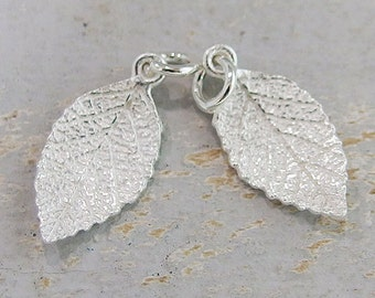 2 of 925 Sterling Silver Leaf Charms  9.5x16.5mm.,Matte finish  :th2083
