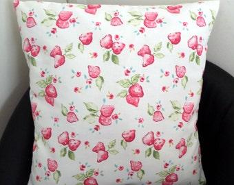 Shabby Chic Clarke & Clarke Strawberry Cotton Fabric Cushion Cover