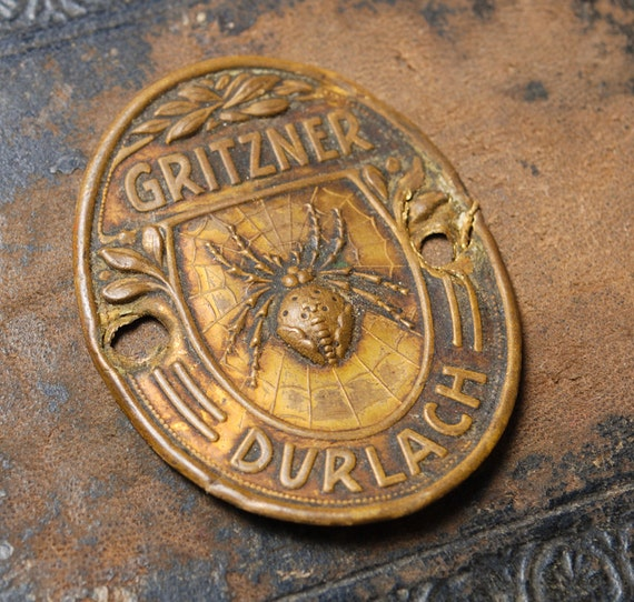 RESERVED till NOV 27... Vintage Gritzner Durlach Sewing Machine label plate 1900s. Made in Germany