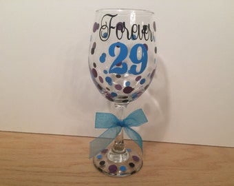 Milestone Birthday Personalized Wine glass, Extra large 20 oz, name and polka dots, Choose your saying Forever 29, Fabulous 40, etc.