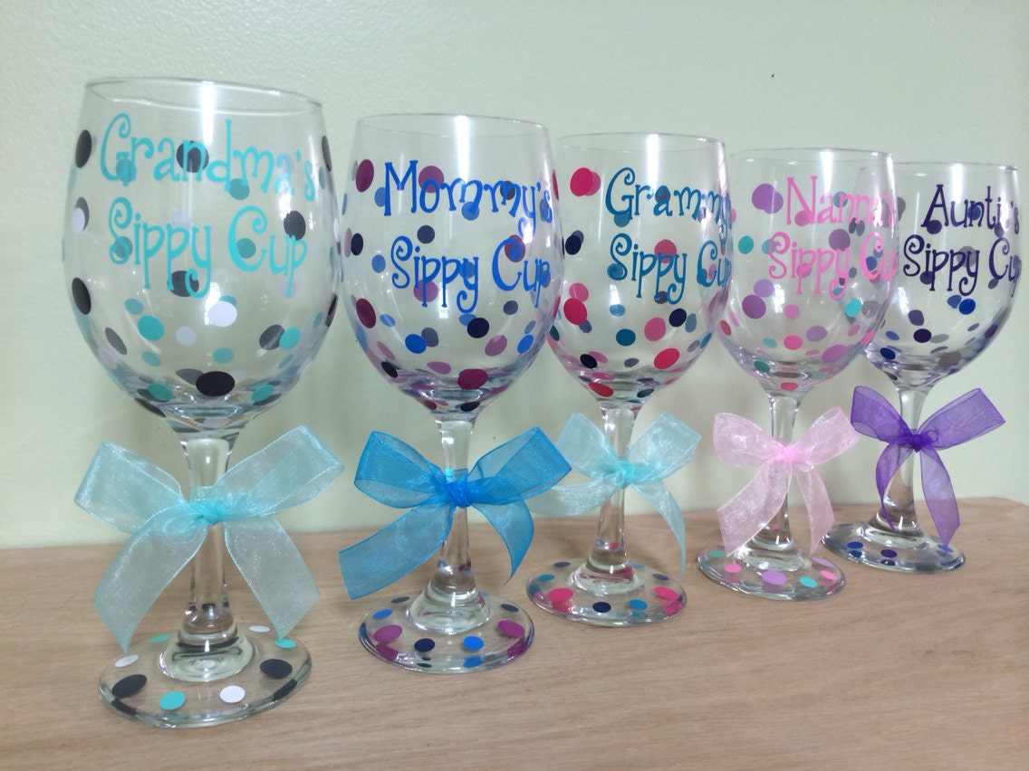 Personalized Wine Glass Extra Large 20 Oz Name And Polka