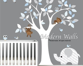 Children Wall Decal Nursery Vinyl Wall Stickers Wall Decals Monkey Owls Elephant-e89