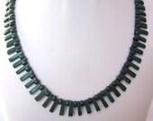 Gorgeous Green Necklace - Striped Malachite - Elegant, Prom, OOAK, Formal, Holiday, Christmas, SRAJD, OOAK