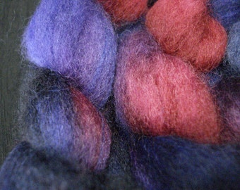 Hand Dyed SW BFL/Nylon Top 85/15 - 4 Ounces - Purple, Navy and Red