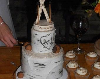 Rustic Birch Ski Wedding Cake Topper