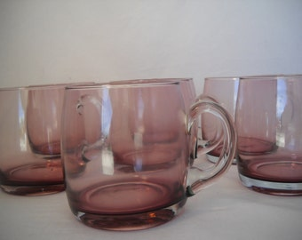 Vintage Purple Glass Mugs Purple Glass Coffee Mugs Set Of 6