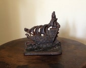 Vintage Cast Iron Ship Bookend Door Stop