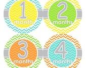 FREE Baby Monthly Bodysuit Sticker NEUTRAL Monthly Stickers Boy Girl Baby Month Milestone Sticker Baby Props Chevron Orange Grey Yellow 059N