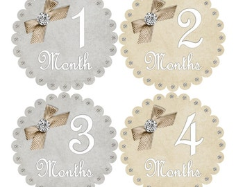 1st Year Baby Month Stickers, PLUS Just Born, Baby Girl Milestone Stickers, Bodysuit Monthly Stickers, Cotagge Ivory/Tan White Grey Bow 008G