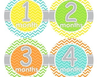 1st Year Baby Month Stickers, PLUS Just Born, Bodysuit Monthly Stickers, Baby Boy or Girl Neutral Milestone Stickers, Yellow Chevron 059N