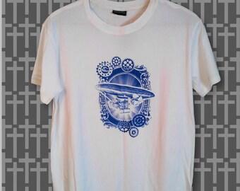 White steampunk airship tshirt - hot air balloon - cogs - flying ship - airplane - dieselpunk - handprinted tee - screenprinted shirt