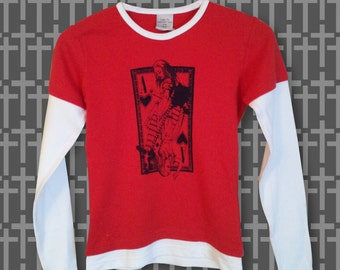 Red Alice in Wonderland playing card tshirt hand screen printed white long arms lady fit layered tshirt Small grunge goth alternative