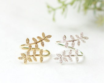 Laurel Leaf ring / adjustable ring, choose your color, gold and silver