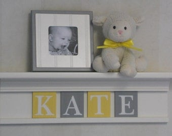 Yellow Gray Nursery Decor Bright White or Linen (Off White) Shelf with Wooden Wall Plaques Grey and Yellow Personalized Baby Girl Gifts
