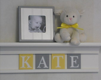 "Yellow Gray Nursery Decor 24"" Linen (Off White) Shelf with 4 Wooden Wall Plaques Grey and Yellow Personalized for KATE"