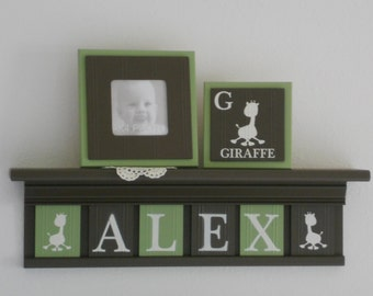 Giraffe Baby Boy Nursery Custom Letters Shelf / Sign Plaques Light Green and Chocolate Brown Safari Zoo Animals Jungle Decor