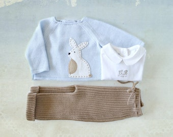 Knitted sweater and ribbed pants. Soft blue and camel. Felt Rabbit. 100% merino wool. READY to SHIP size newborn.