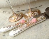 Wedding cake server set in Blush pink, gold and ivory, hand decorated with roses and pearls, elegant cake knife and server set