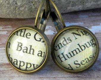 BaH HUMBuG,  Bah Humbug Jewelry, Christmas Word Earrings,  Christmas Earrings, CHristmas Humbug, Scrooge, A Christmas Carol