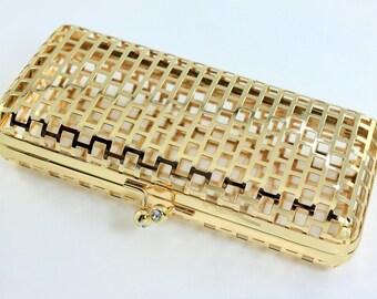 7 3/4 x 3.5 inches (19.5 x 9 cm) - Ball Clasp - Shiny Gold Net Clutch Frame - 1 Piece (CBF-NET01)