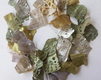 """Ethereal fabric necklace in ivory, beige, khaki - From  """"Leaves"""" series"""