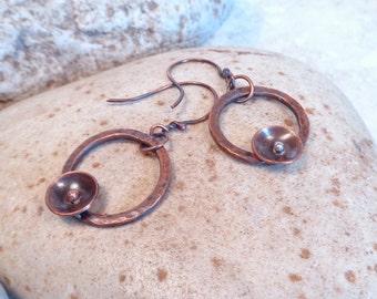 Copper Hoop Earrings Soldered Flower Mixed Metal Earrings