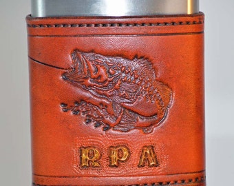Hook The Bass, Tooled On Leather Covered Stainless Steel Flask