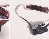 Reorder by Christine** Classic leather camera strap - black and brown