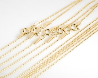 5 pieces: gold filled chain, 14K gold filled finished chain, 18 inch bead chain 1mm bead size,  with sping clasp