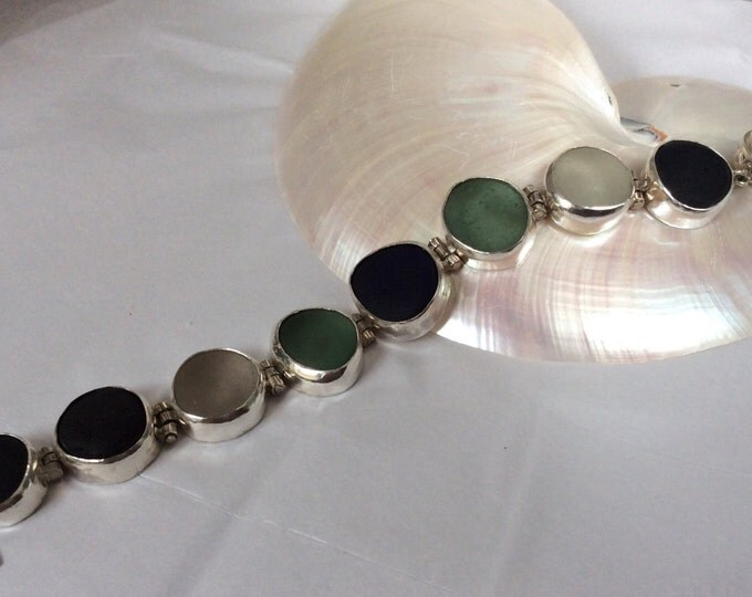 Sterling silver hinged multi colored seaglass bracelet
