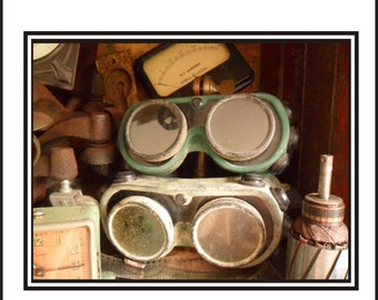 Pair Of Green Vintage Welding Goggles - As Found