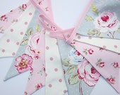 Fabric Bunting, shabby chic style, Rustic Wedding Banner, Baby Shower Flag Garland, Pink, Grey and White English Roses Double Sided Flags