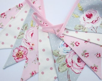 Fabric Bunting, cottage chic, baby bunting, Wedding Banner, Baby Shower Flag Garland, Pink, Grey and White English Roses Double Sided Flags