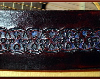 BLUE HEARTS Design • A Beautifully Hand Tooled, Hand Crafted Leather Guitar Strap