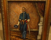 Reserved for Jason V Civil War Art Framed Portrait  of African American 1st Lt. William D Matthews of the First Kansas