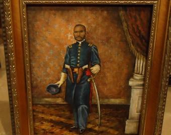 Art Civil War Art Portrait  painting of African American 1st Lt. William D Matthews of the First Kansas