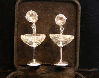 Crystal Earrings - Sterling Earrings - Champaign Glass Earrings - Vintage Earrings - Wedding Earrings