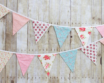 Shabby Chic II, Floral - Fabric Flag Bunting
