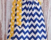 Royal Blue Chevron and Yellow  Polka Dot Pillowcase dress