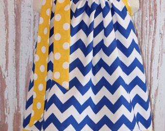 Royal Blue Chevron and Yellow  Polka Dot Pillowcase dress